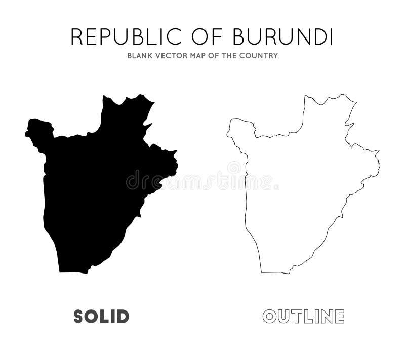 Carte du Burundi illustration stock