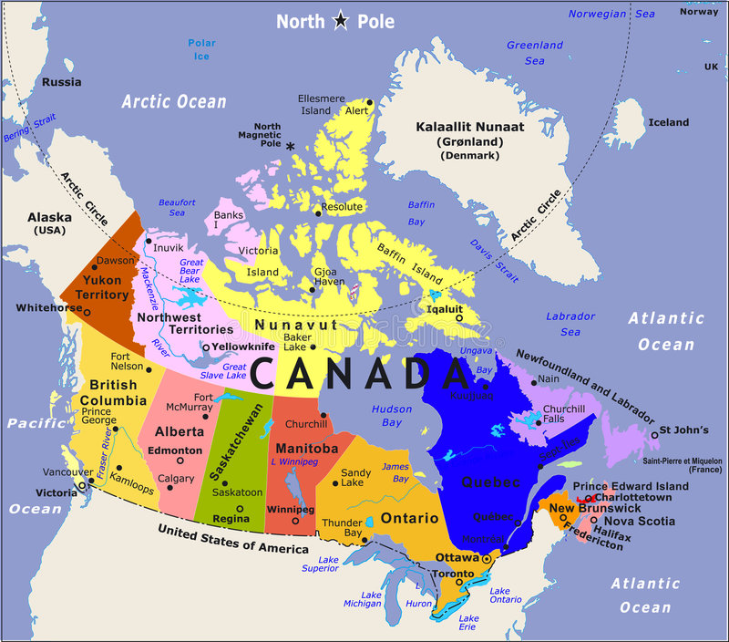 Carte du Canada. illustration de vecteur