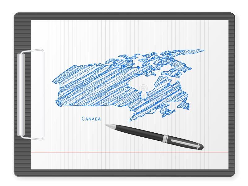 Carte du Canada de planchette illustration stock