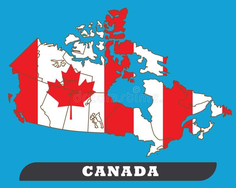Carte du Canada et drapeau du Canada illustration stock