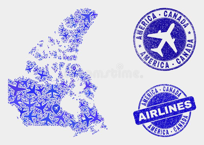 Carte du Canada V2 de vecteur de mosaïque d'avions et timbres grunges illustration libre de droits