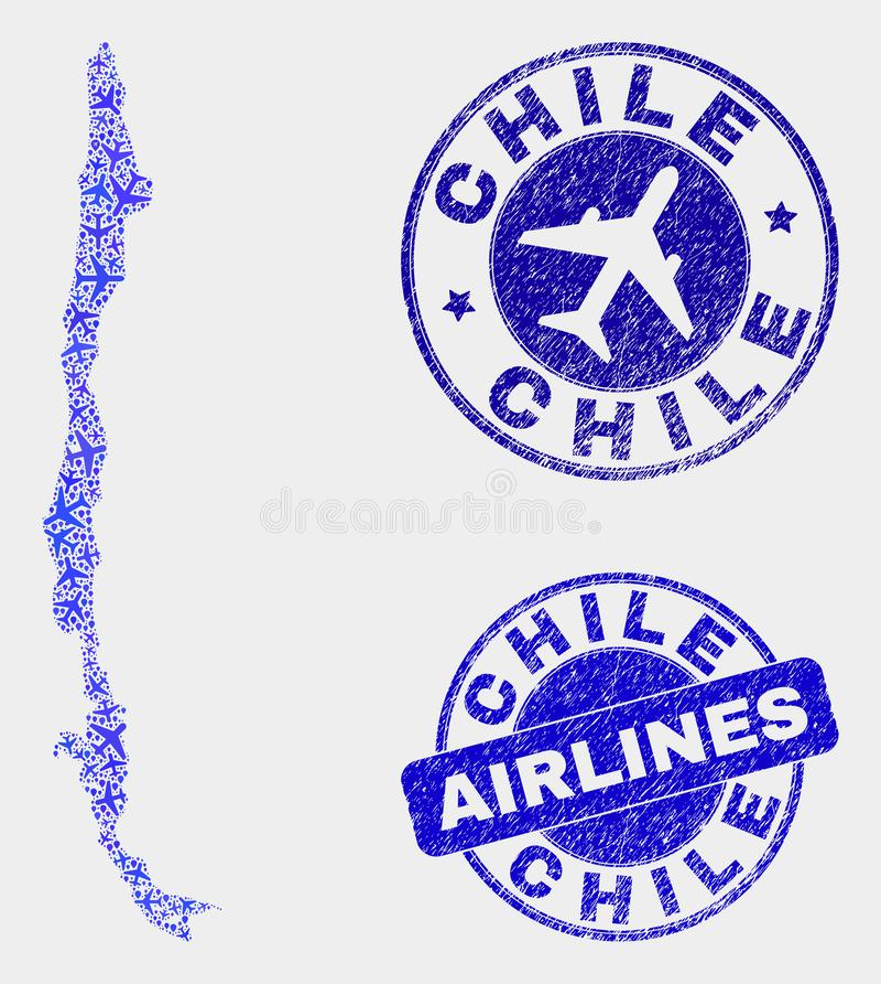 Carte du Chili de vecteur de mosaïque d'aviation et timbres grunges illustration stock