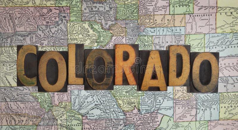 Carte du Colorado de cru photographie stock libre de droits