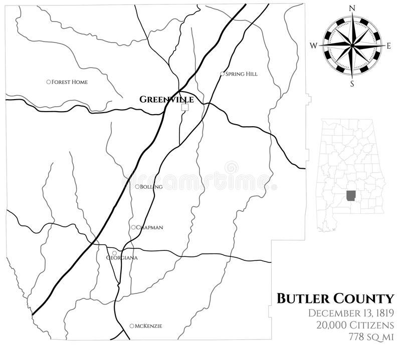 Carte du comté de Butler en Alabama illustration de vecteur