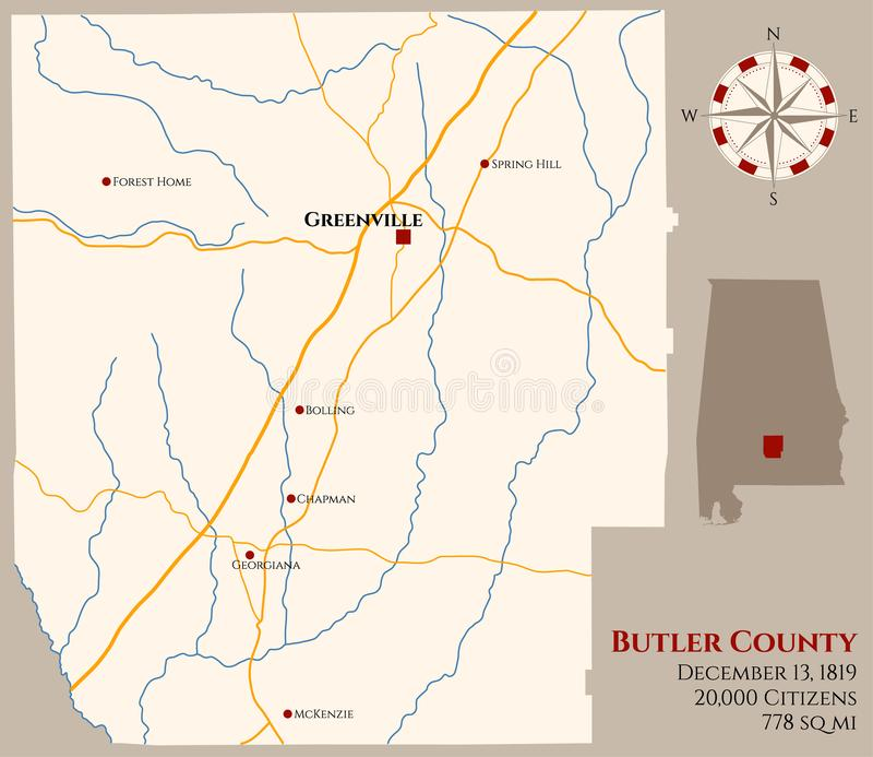 Carte du comté de Butler en Alabama illustration stock
