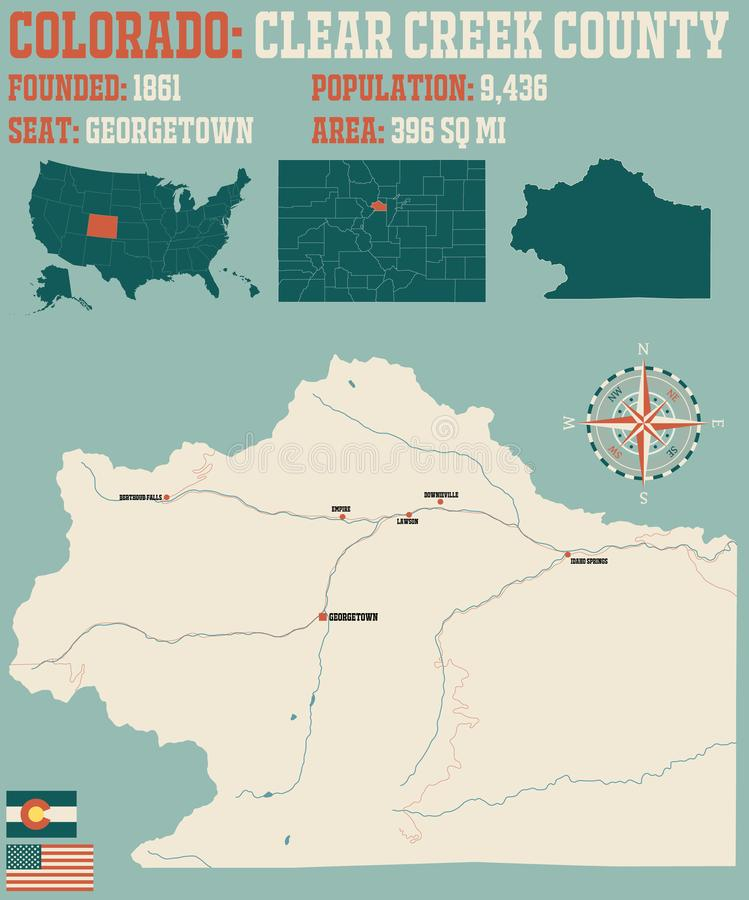 Carte du comté de Clear Creek au Colorado illustration stock