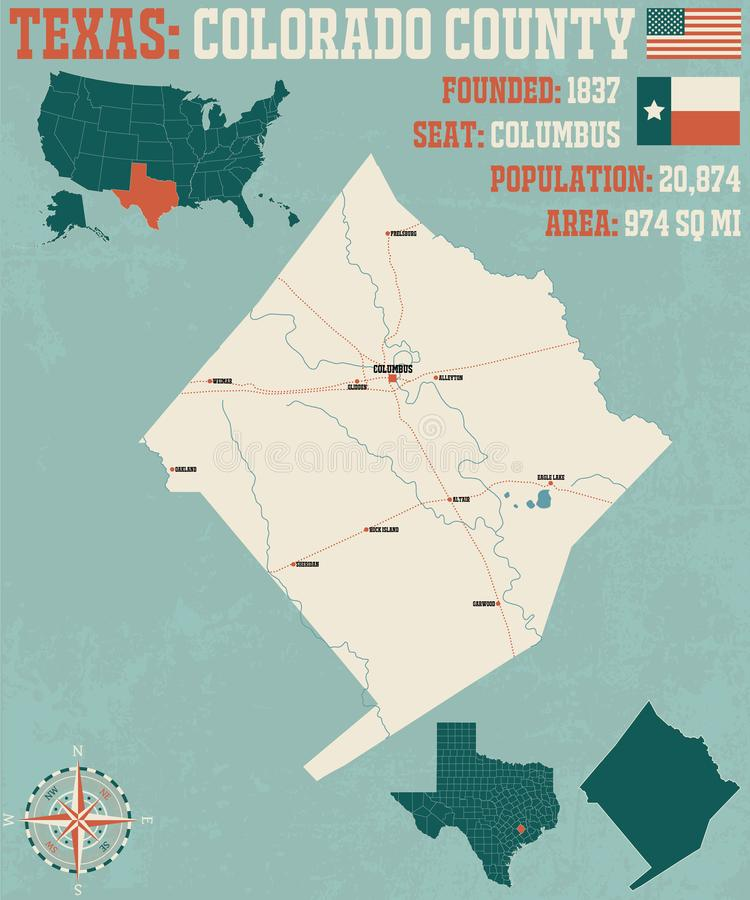 Carte du comté de Colorado dans le Texas illustration stock