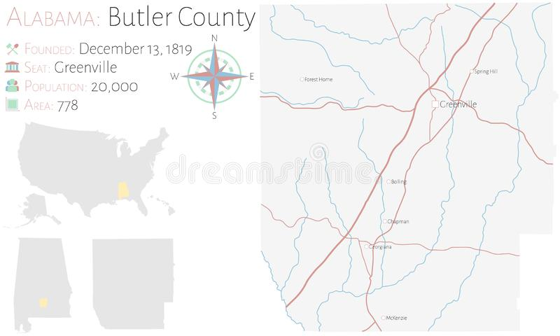 Carte du comt? de Butler en Alabama illustration stock