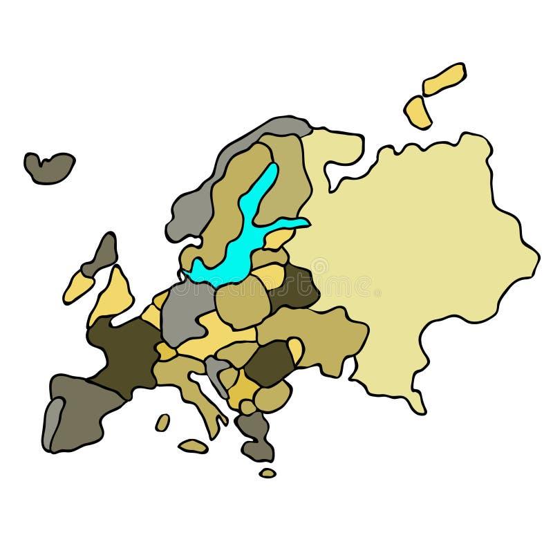 Carte du continent du monde de l'Europe Illustration de vecteur illustration de vecteur