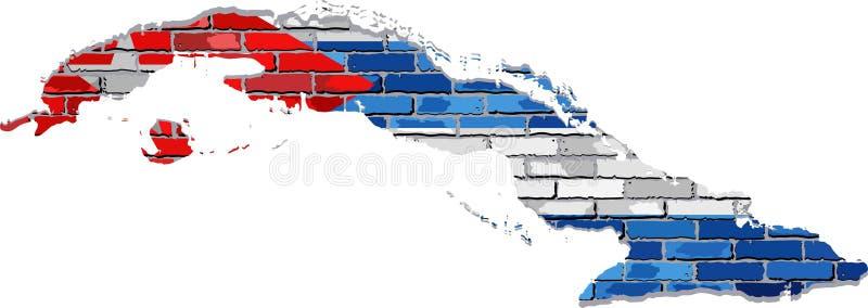 Carte du Cuba sur un mur de briques illustration de vecteur