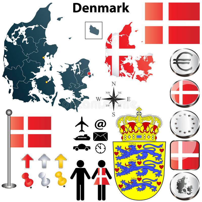 Carte du Danemark illustration de vecteur