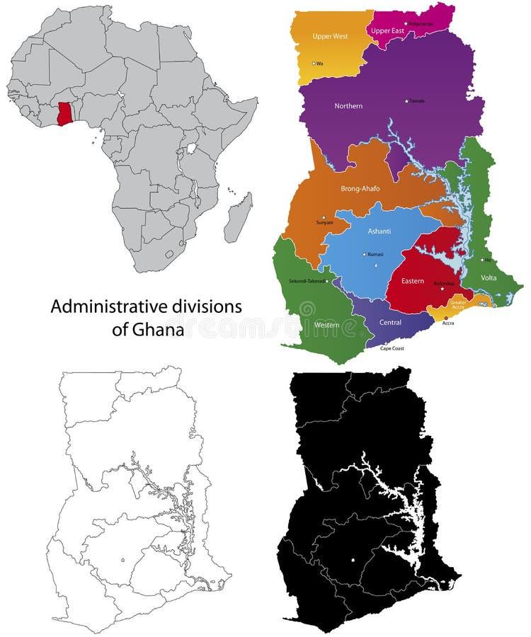 Carte du Ghana illustration de vecteur