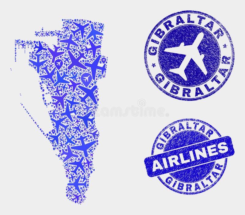 Carte du Gibraltar de vecteur de composition en ligne aérienne et timbres grunges illustration stock