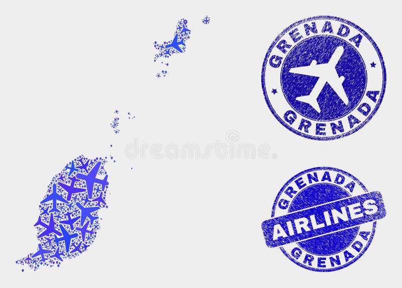 Carte du Grenada de vecteur de collage d'avion et joints grunges illustration libre de droits