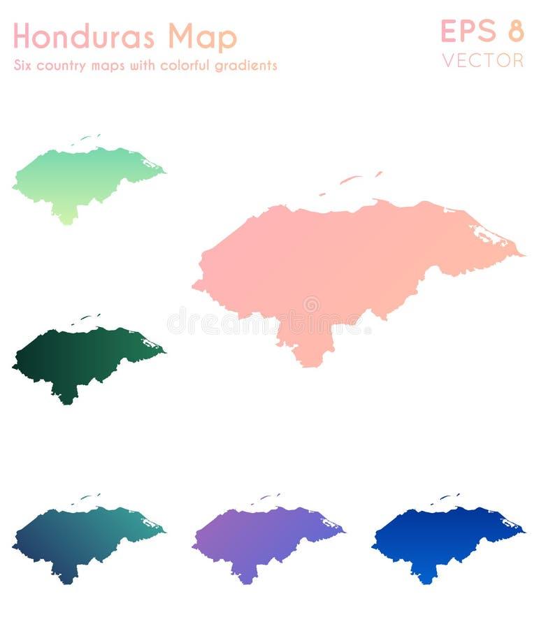 Carte du Honduras avec de beaux gradients illustration de vecteur