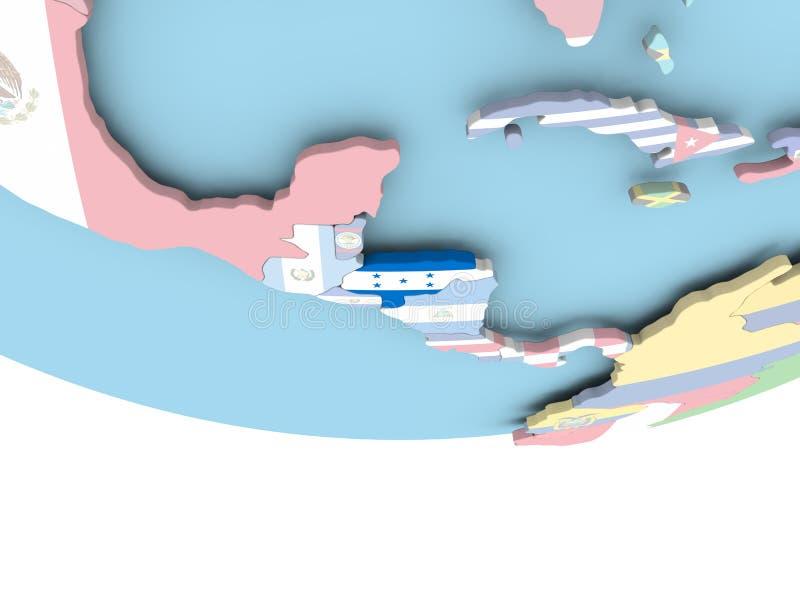 Carte du Honduras avec le drapeau sur le globe illustration de vecteur
