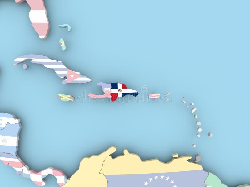 Carte du Honduras avec le drapeau sur le globe illustration libre de droits