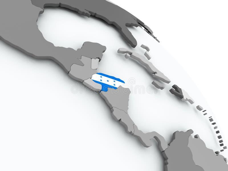 Carte du Honduras avec le drapeau sur le globe illustration stock
