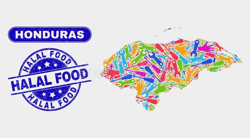 Carte du Honduras d'outils et affliger les joints halal de coupon alimentaire illustration libre de droits