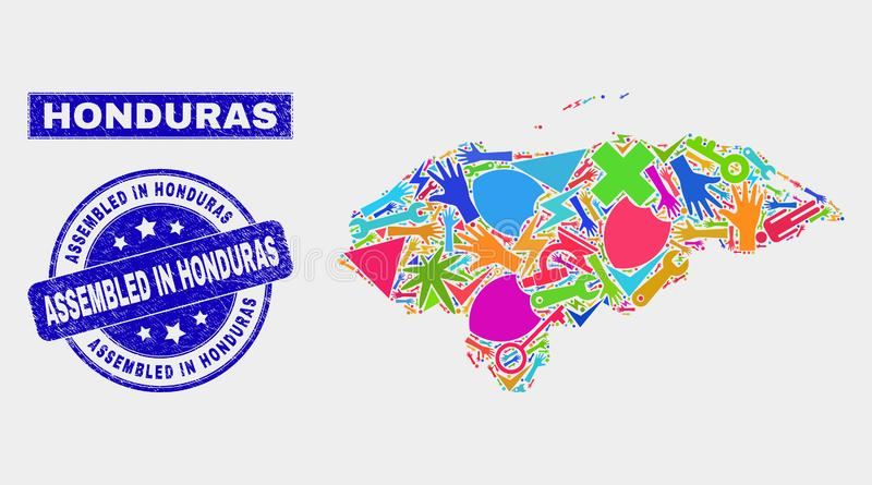 Carte du Honduras de technologie de mosaïque et rayé réuni dans le joint de timbre du Honduras illustration libre de droits