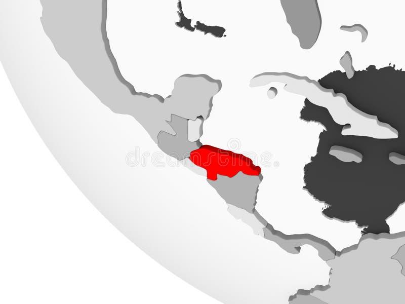 Carte du Honduras en rouge illustration stock