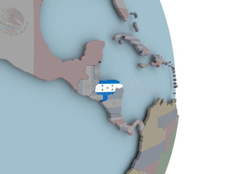 Carte du Honduras sur le globe politique avec le drapeau illustration de vecteur