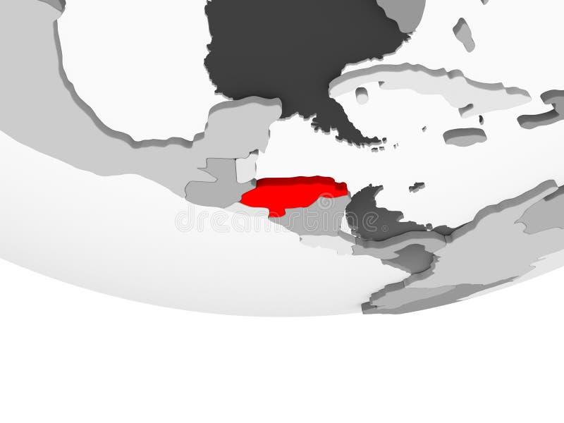 Carte du Honduras sur le globe politique gris illustration stock