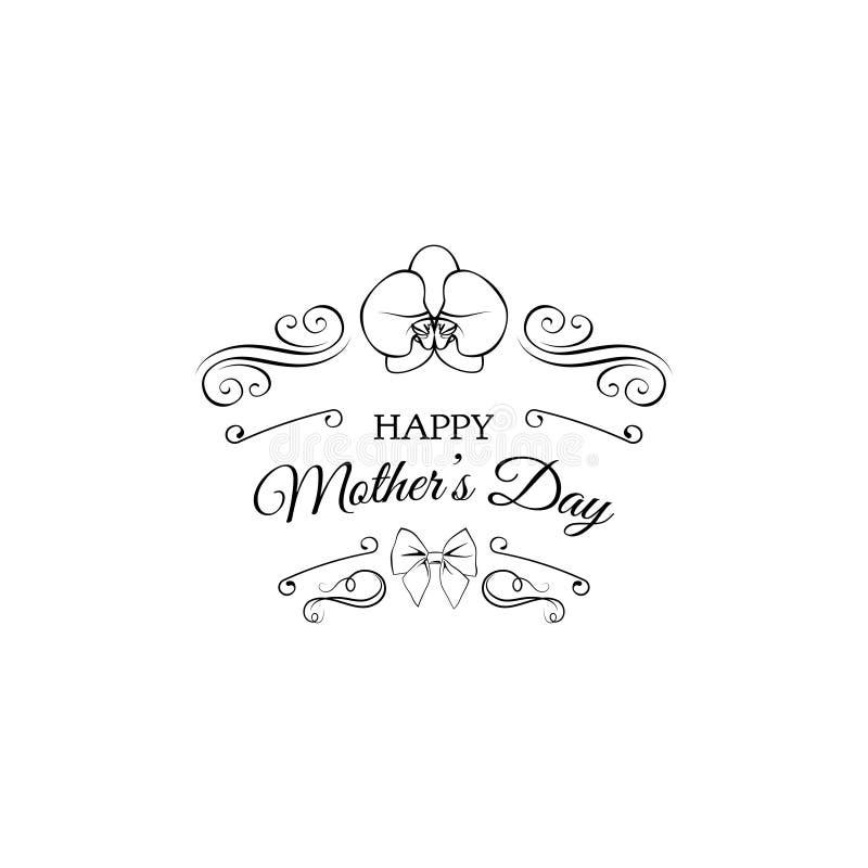 Carte du jour de mère Décoration de vintage, fleur d'orchidée, arc, remous, éléments en filigrane Vecteur illustration libre de droits