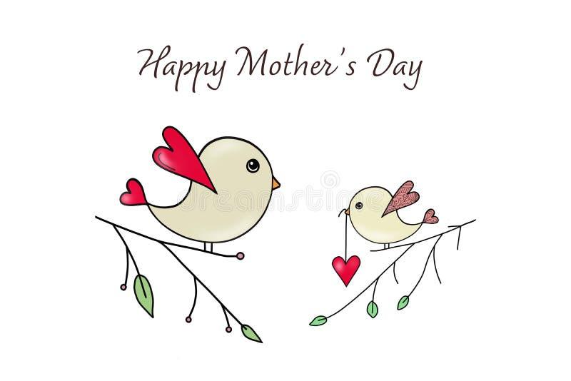 Carte du jour de mère Peu oiseau donnant le coeur rouge à sa mère illustration stock