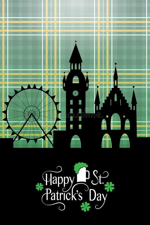 Carte du jour de St Patrick avec le paysage et la typographie irlandais illustration stock
