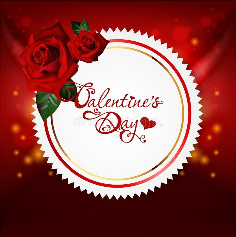 Carte du jour de Valentine avec des roses illustration libre de droits