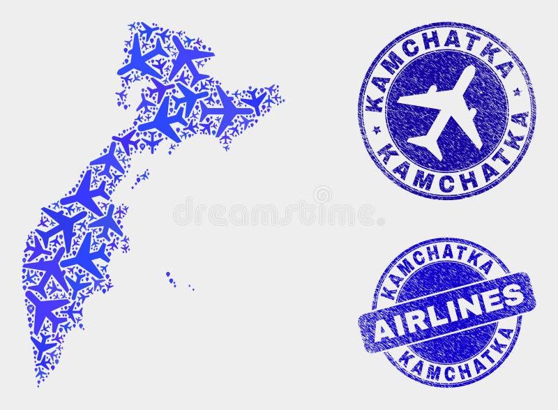 Carte du Kamtchatka de vecteur de mosaïque de ligne aérienne et joints grunges illustration libre de droits