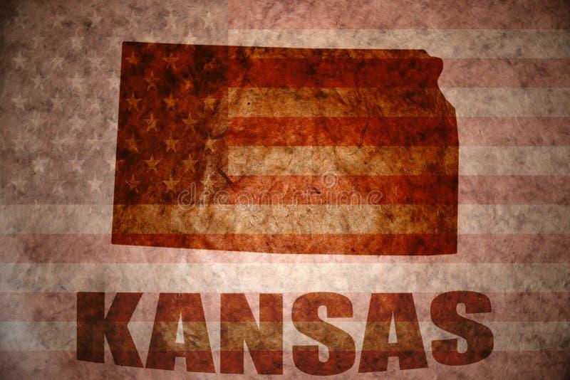 Carte du Kansas de vintage photo stock