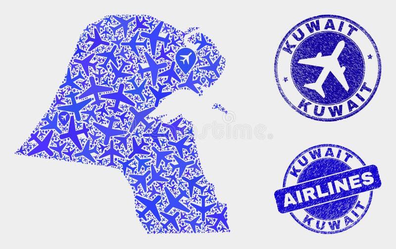 Carte du Kowéit de vecteur de mosaïque de lignes aériennes et timbres grunges illustration stock