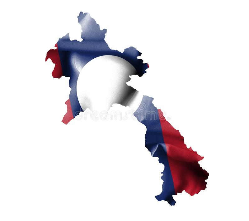 Carte du Laos avec le drapeau de ondulation d'isolement sur le blanc illustration stock