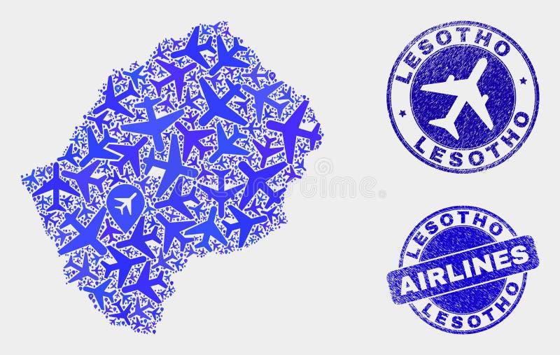 Carte du Lesotho de vecteur de collage d'aviation et timbres grunges illustration libre de droits