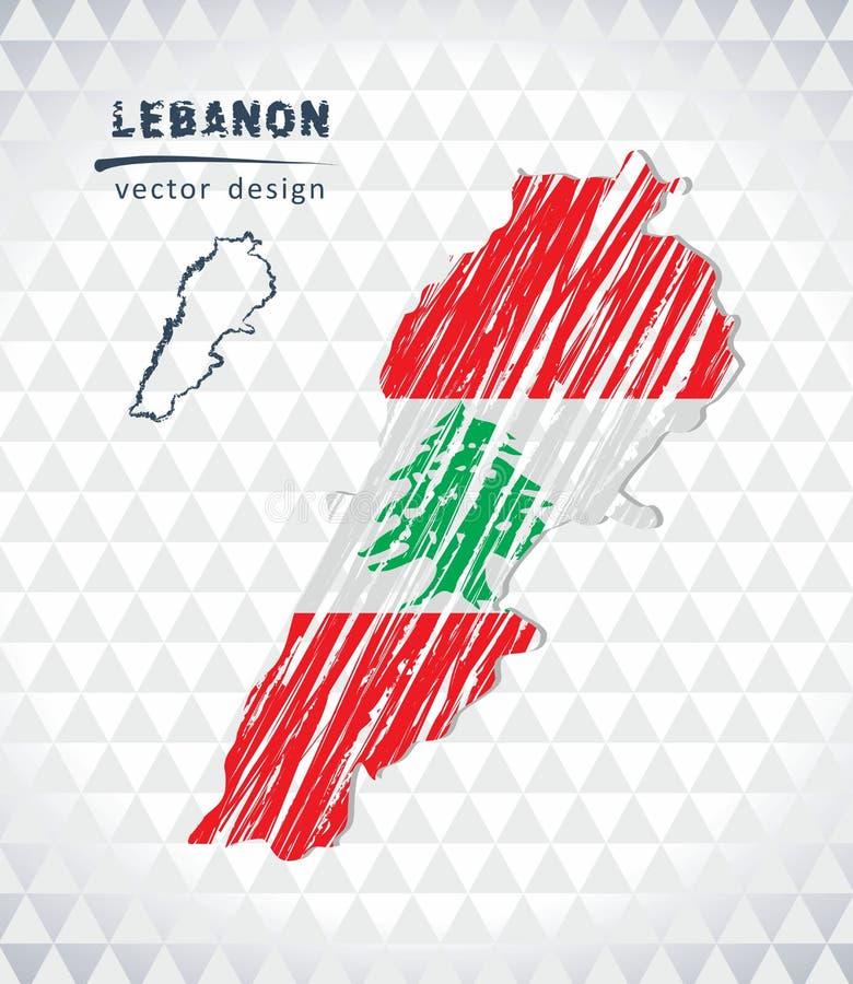 Carte du Liban avec la carte tirée par la main de stylo de croquis à l'intérieur Illustration de vecteur illustration stock