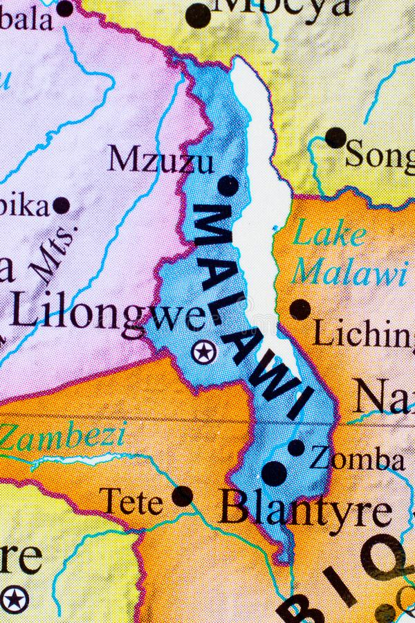 Carte du Malawi photographie stock