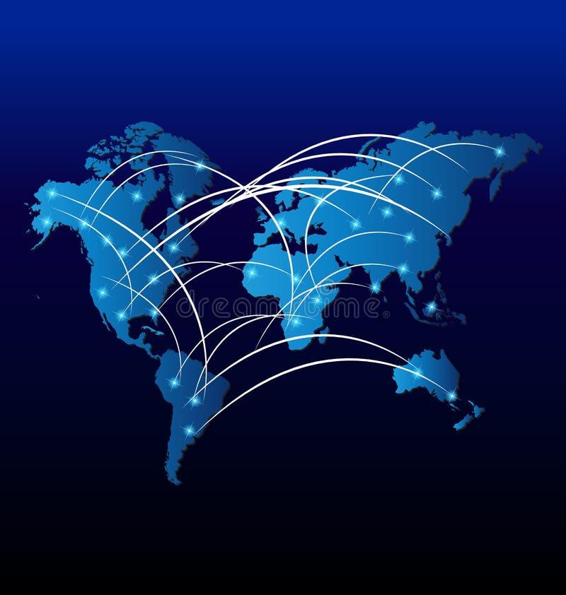 Carte du marché du commerce d'Internet du monde illustration libre de droits