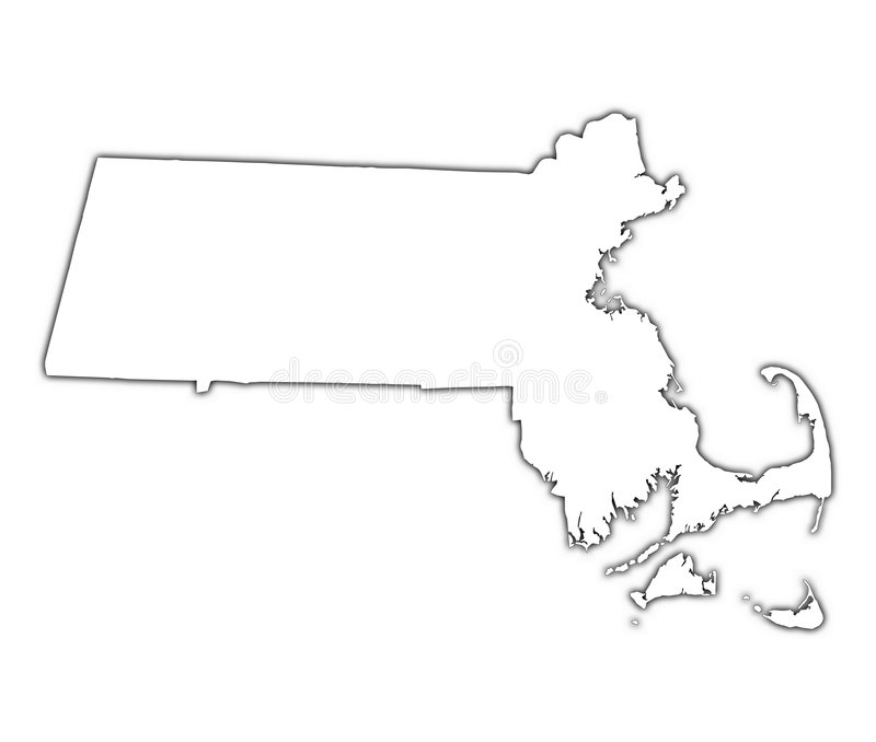 Carte du Massachusetts (Etats-Unis) illustration libre de droits