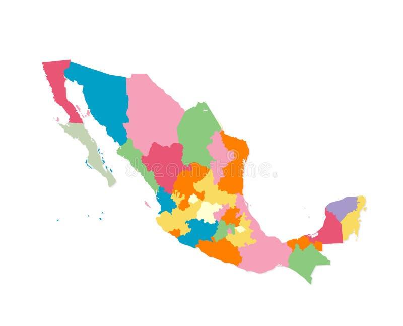 Carte du Mexique dans les aquarelles illustration libre de droits