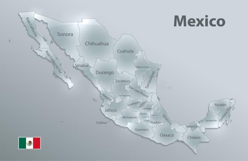 Carte du Mexique, nouvelle carte détaillée politique, différents états distincts, avec des noms d'état, noms en verre d'état de l illustration stock