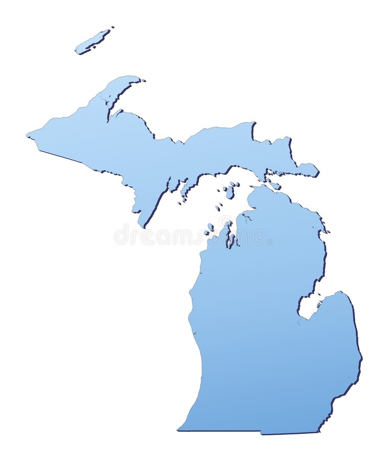 Carte du Michigan (Etats-Unis) illustration stock