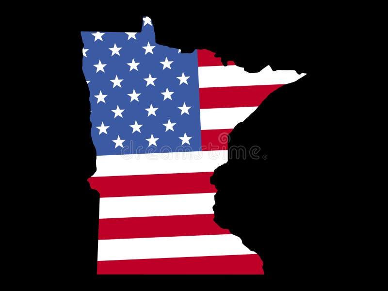 Carte du Minnesota avec l'indicateur illustration libre de droits
