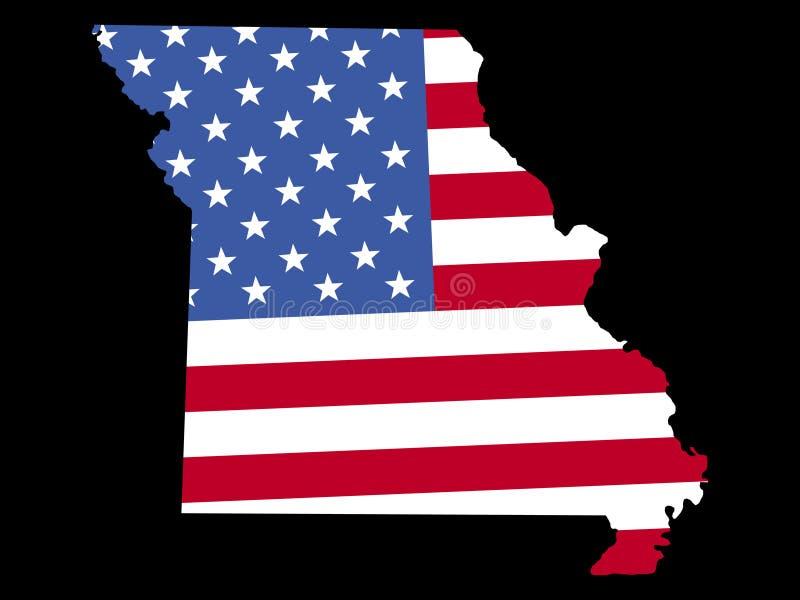 Carte du Missouri avec l'indicateur illustration libre de droits