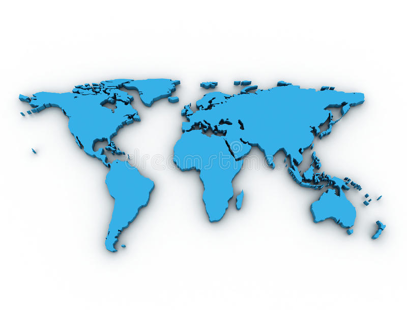 carte du monde 3D illustration stock