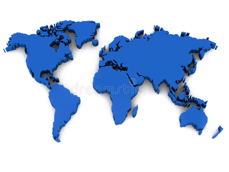 carte du monde 3d illustration stock