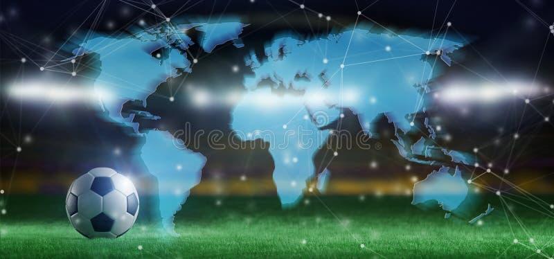 Carte du monde au-dessus de stade de football d'une concurrence de coupe du monde Franco Camion - 3d images stock
