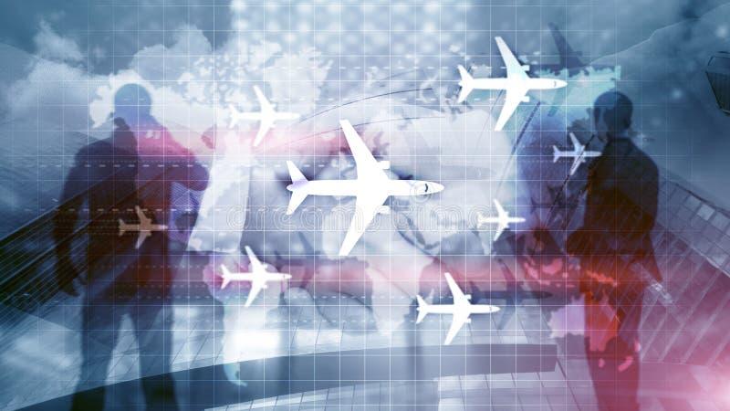 Carte du monde avec des avions d'itin?raires de vol Tourisme d'affaires de Global Aviation Fond de double exposition photo libre de droits