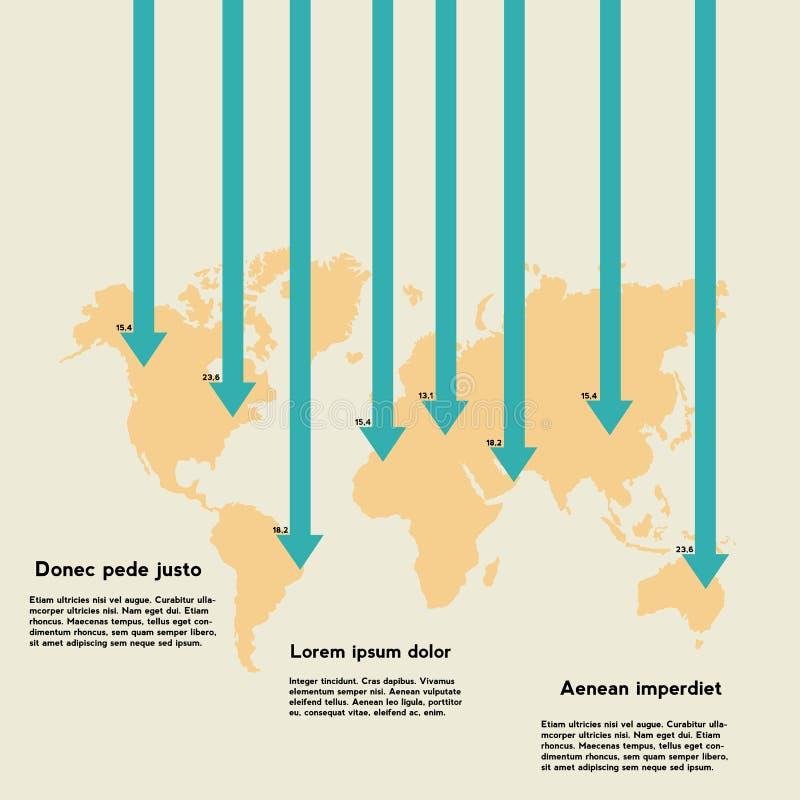 Carte du monde avec des flèches et l'information photos stock